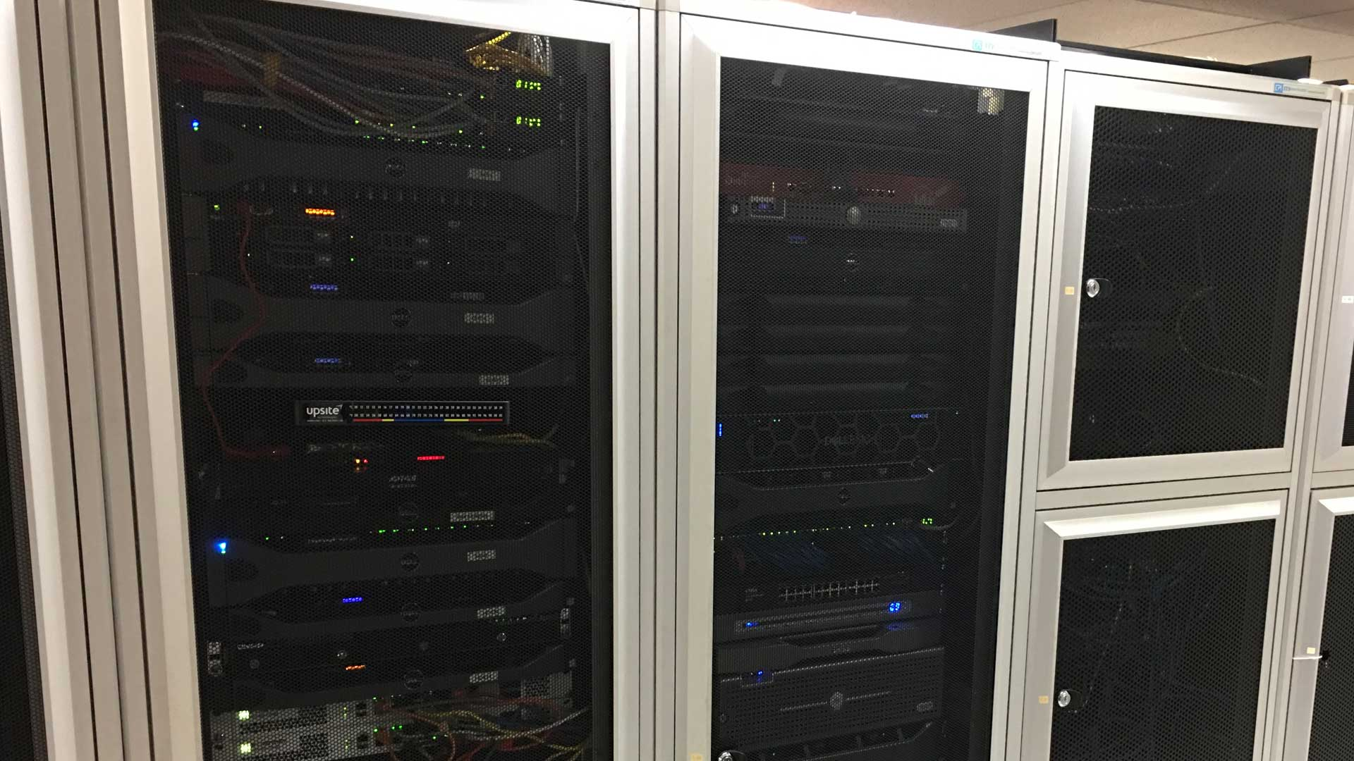 Close up photo of our servers in a cabinet at our data center.