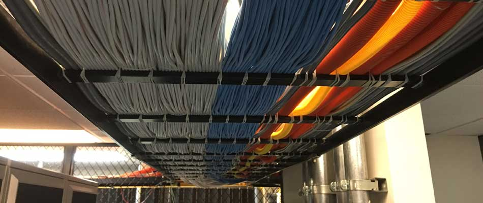 Network infrastructure wires coming into the data center at our %%targetrea1%%, FL location.
